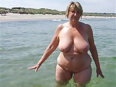 Granny, MILF, Mature, Beach
